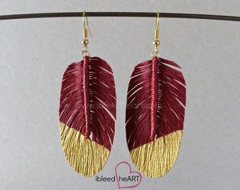 Gold Dipped Dark Red Fake Feather Earrings - Red Bird Feather - Feather Jewelry - Handmade Earrings - Bohemian Wedding