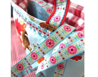 Jacquard Ribbon, Retro Flower Ribbon,  Farbenmix Retro-Webband strahlend hell, Sewing Tape, 1 metre