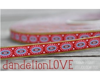 Jacquard Ribbon, Dandelion Love Ribbon,  Farbenmix woven red flower webband,  Sewing Tape, 1 metre