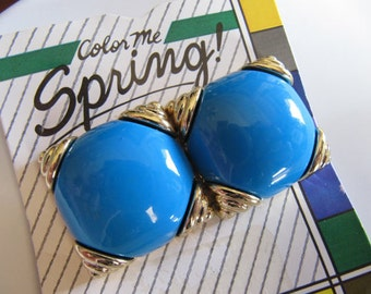 Vintage Clip on Earrings, Blue and Gold Plastic Squares, 1 inch, Unused NOS, Costume Jewelry, 1980's Earrings, Color me Spring Brand