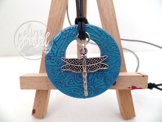 Dragonfly wood pendant