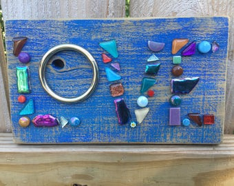 LOVE - Glass mosaic on reclaimed wood