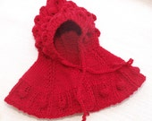 Waldorf Doll Clothes -Knitted Red  Cape Hoodie - Hand knitted clothes - Hand Knitted Doll Outfits , fit 9 - 10 inch dolls