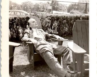 Vintage Photo - Man Asleep in Chair - Vernacular, Found Photo (B)