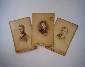 Vintage Portrait Cabinet Cards Antique Photographs Three Young Adults