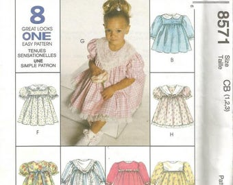 Vintage Little Girl's Dress Neck and Sleeve Variations Eight Styles McCall's 8571 Uncut FF Size 1 - 2 - 3 Toddler Girls Dress Pattern