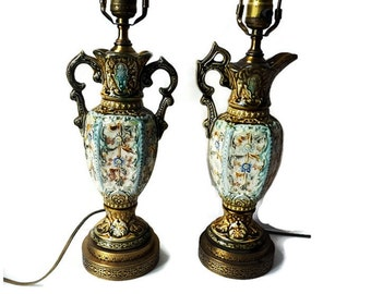 Pair Table Lamps from 1920s/Matching Hand Painted Porcelain Ceramic Capodimonte Italian Regency Style