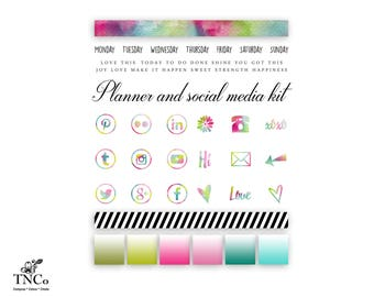 Planner Clipart - Commercial use clip art - Social media clip art - social media icons - Blog clipart - Blog buttons - Planner Accessories