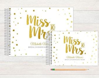 Bridal Shower Guest Book, Bridal Shower Guestbook, Bridal, Custom GuestBook, Personalized GuestBook, Bridal Shower Registry Book, golden
