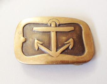 Anchor belt buckle, brass belt buckle, boating buckle, sailing buckle, vtg belt buckle, vtg brass buckle, vtg anchor buckle, brass anchor