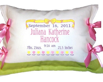 Personalized Birth Certificate Announcement Pillow Linen Embroidered  with Bows