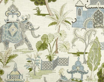 Decorative Moroccan Elephant Pillow Cover / Both Sides / Blue / Green / Grey and Brown /Squares / Lumbars and Euro Shams