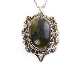 Large Labradorite Cabochon in Sterling Silver Bali Coiled Mounting, Sterling Necklace