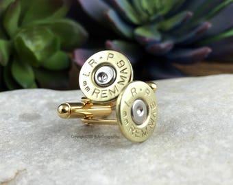 Bullet Cufflinks, 7mm Mag Bullet Cuff Links Brass Thin Gold Tone, 7mm Mag Cufflinks, Gold Cufflinks, Bullet Cuff Links, Wedding Cufflinks