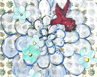 For The Birds - original painting, Magenta Hummingbird and Blue Zinnia Flowers and Blossoms painted on Vintage Wallpaper