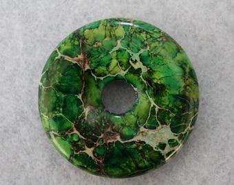 Beautiful Green Variscite Sea Sediment Jasper Donut Pendant