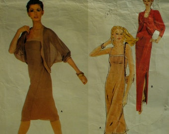 Jerry Silverman Evening Gown Pattern, 80s, Straight, Straps, Fitted Bust, Side Slit, Cucoon Jacket, Vogue American Designer 2328 Size 8