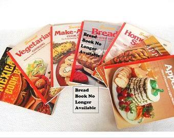 Choice of Vintage Sunset Cookbooks Appetizers, Make-Ahead, Soups, Mexican, Veggies, Favorite Recipes by the Magazine of Western Living CB338