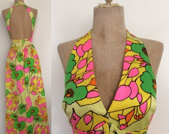 1960's Cole of California Iconic Floral Maxi w/ Lace-up Waist Keyhole Back Psychedelic Vintage Dress Size XS Small by Maeberry Vintage