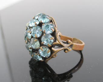 Vintage Brass & Light Blue Prong Set Stone Ring - Adjustable Size, Made in USA