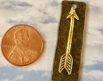 Gold Arrow on Bronze Hammered Pewter Pendant