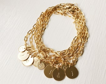 Gold Initial Bracelet,Gift For Her,Gold Initial Charm Bracelet,Personalized Charm Bracelet,Gold Chain Bracelet,Gift for Mom,Bridesmaid Gift