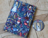 Alice in Wonderland print fabric covered notebook & mirror set. Removable cover