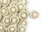White Beaded Applique By 12 Pcs, Small Decorative Appliques, Sewing Crafts, Indian Applique, Wedding Dress Patch, Circle Applique APS264