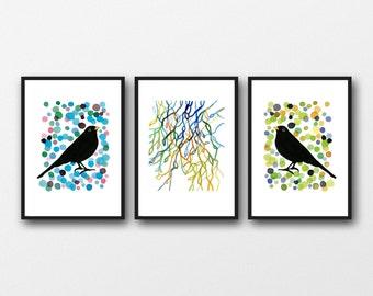 Bird watercolor set, New home housewarming gift, Watercolor paintings, Set of 3 prints, watercolor prints Blackbirds