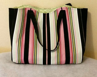 Tote Stripes in Black, Pink, Green and White