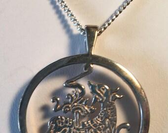 Vintage Ortak Silver Pendant Necklace and Box Orkney Harvest Dog Bikko