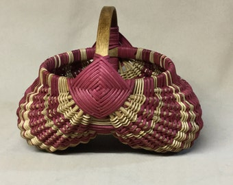 Round Hand Woven Egg Basket with Dark Pink Accent Weaving