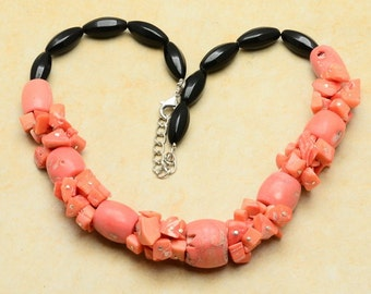 Pink Coral Necklace, Black Jasper Necklace, Beaded Necklace, Adjustable Necklace, Chunky Necklace, Gift for Her Natural Coral, Coral Jewelry
