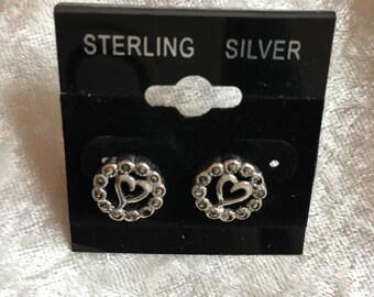 Marcasite Earrings, Heart Earrings, Stud Earrings, Post Earrings, Sparkly Earrings, Sterling Silver, Marcasite Jewelry, Heart Jewelry
