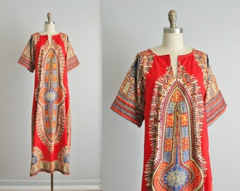 70's Boho Caftan Dress // Vintage 1970's Festival Vibrant Print Cotton Dashiki Caftan Maxi Dress XS S M