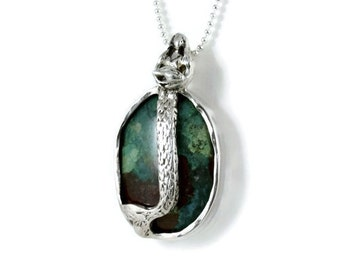Mermaid Mila Loves The Ocean - Sterling, Sterling Silverware, Chrysocolla Stone, And PMC - Empowerment - Mermaid Art Jewelry Pendant - 1973