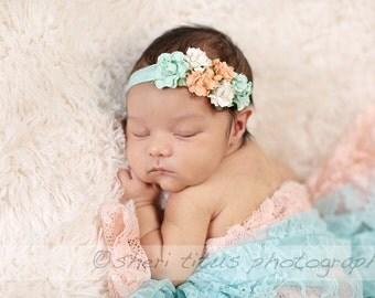 Aqua and Peach Flower Baby Headband - Newborn Headband - Aqua Peach Ivory Floral Headband - Flower Girl - Flower Crown