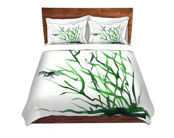 Dragonfly Bedding - Modern Bedding - Queen Size Duvet Cover - King Size Duvet Cover