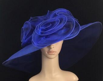 Blue Kentucky Derby Hat ,Organza Hat ,Derby Hat,Dress Hat ,Bridal Wedding Hat,Tea Party Hat Ascot