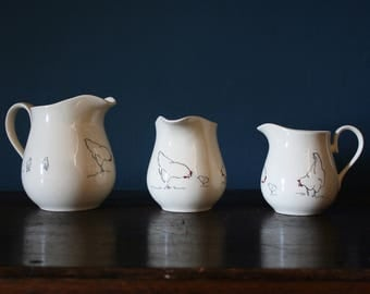 Chicken Jug in Creamware handmade on Stoke on Trent available in three sizes