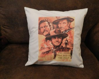 Spaghetti Western Classic Movie Throw Pillow Cover Good Bad Ugly  Decorative Media Room Man Cave Pillow