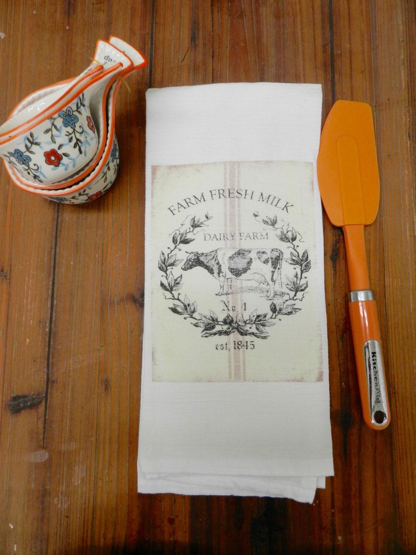 Farmhouse Decor Kitchen Tea Towel Flour Sack Dairy Cow Rustic