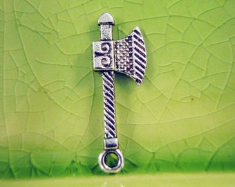 10 silver battle ax charms pendants sword weapon hatchet warrior sca larp  27mm x 10mm - C0340-10