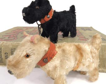 Vintage Miniature Scottie & West Highland Terrier Advertising Dogs, Black and White Scotch Whiskey, Mohair, Made in Germany