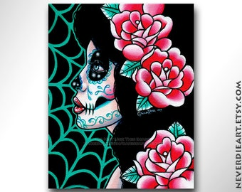 Sugar Skull Girl Signed Limited Edition Art Print - Lost in Reverie - Day of the Dead Tattoo Flash - 9 of 25 - 8x10 inches
