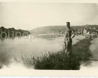 Digital Download ,Vintage Photo, Man on Riverbank, Printable Photo,  Landscape, Black & White, Found Photo, Old Photo, Snapshot, Germany