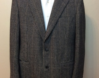 Vintage 1990s Made in USA Brooks Brothers Camel hair Blazer Jacket Prince of Wales Check Houndstooth Size 40