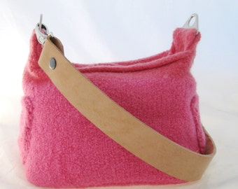 Hand Knit Felted, Pink Coral Orange, Sachel Bag Purse, Two Leather Straps, Hobo Bag Style, Handmade Shoulder Hand Bag, Simple Felted Bag