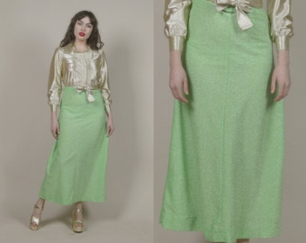 Lurex Maxi Skirt Bright Green 70s Glam SPARKLE Metallic 1970s Disco Flared / Size S Small