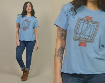 80s T Shirt Thrashed Alameda County Jailhouse Blue Tee Number 1 1980s Shirt JAIL Soft Thin Prison / Size L Large